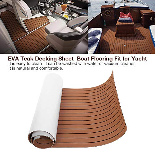 Yosooo Non-Slip Multi-Function EVA Teak Decking Sheet Boat Flooring Mat Pad Fit for Yacht with Black Lines 94x35.4Inch (Dark Brown)