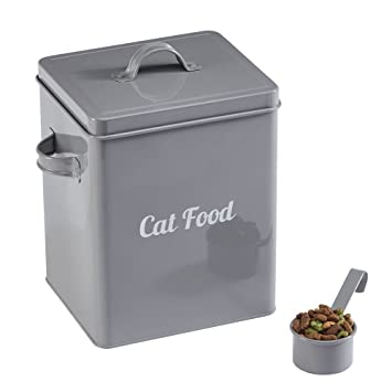 Your Home Cat Food And Treats Storage Tin With Lid U0026 Scoop Classic Vintage  Style Container
