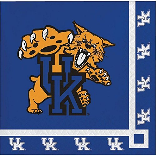 Kentucky Wildcats NCAA PartyCocktailNapkins Sports Themed College University Party Supply Luncheon Napkins for Beverage for 20 Guests Orange Purple Color Paper - Nba Kentucky Wildcats
