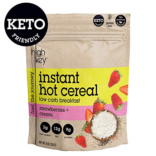 HighKey Snacks Keto Instant Hot Cereal Breakfast - Gluten & Grain Free - Perfect Ketogenic Friendly Food - Low Carb, High Protein - Good for Desserts, Atkins & Diabetic Diets (Strawberries and Cream)