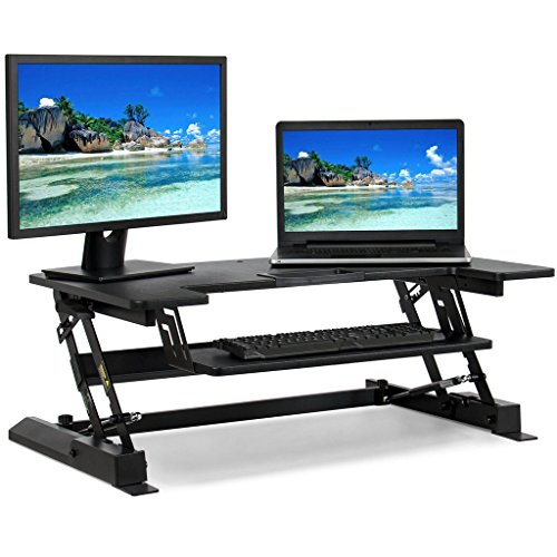 "Best Choice Products Height Adjustable Standing Desk Monitor Riser Gas Spring | 36"" Tabletop Sit to Stand Workstation"
