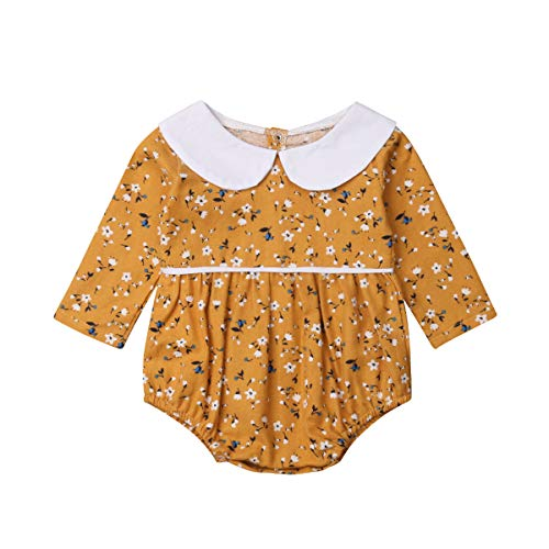 Infant Baby Girls Floral Romper Long Sleeve Bodysuit Jumpsuit Outfit with Peter Pan Collar 6-12 Months]()