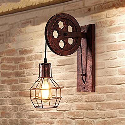 Industrial Retro Iron Wall Lamp Creative Personality Lift Pulley Wall Light Ajustable Height Industrial Cage Wall Sconce Vintage Wall Light Fixture Rustic Loft Antique Wall Lantern Lighting Fixtures