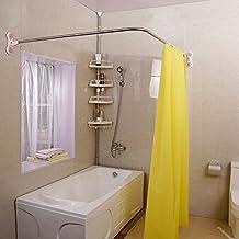Baoyouni Curved Shower Curtain Rod Suction Cups L-Shaped Corner Bath Curtain Rail Bar Metal Expandable Pole 46.46''-70.87''