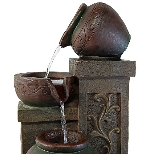 Sunnydaze Tiered Pottery Tabletop Water Fountain with LED Light
