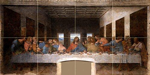 The Last Supper by Leonardo da Vinci Tile Mural Kitchen Bathroom Wall Backsplash Behind Stove Range Sink Splashback 4x2 12'' Ceramic, Matte by FlekmanArt