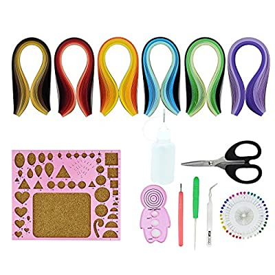 Paper Quilling Kit Quilled Paper – Pistha 600 PCS Strips Quilling Paper in 29 Colors with 8 PCS Different Quilling Tools, Quilling Coach, Quilling Board