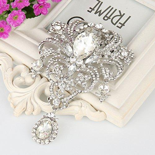EVER FAITH Austrian Crystal Flower Bouquet Tear Drop Pendant Brooch Clear Silver-Tone Photo #4