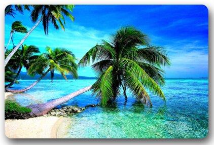 - Fashion Decorative Tropical Paradise Ocean Beach Scene with Palm Trees Doormats Floor Mat Door Mat Rug Indoor/Outdoor Mats Welcome Doormat 23.6