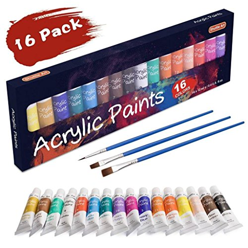 Acrylic Paint Set, Shuttle Art 16 x 12ml Tubes Artist Quality Non Toxic Rich Pigments Colors Great For Kids Adults Professional Painting on Canvas Wood Clay Fabric Ceramic Crafts