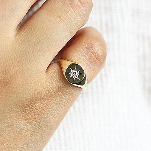 Signet Ring, Diamond Signet Ring for Pinky, Pinky Signet Ring, Minimalist Star Setting Natural Diamond Signet Ring by JSVConcept