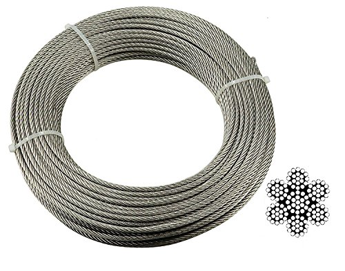 Muzata Stainless Aircraft Steel Wire Rope Cable For Railing ,Decking, DIY Balustrade, 5/32Inch,7×19,164Feet