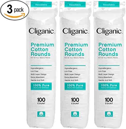 Cliganic Premium Cotton Rounds for Face (300 Count)   Makeup Remover Pads, Hypoallergenic, Lint-Free   100% Pure Cotton