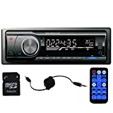 Panlelo PA6219, Single Din Head Unit 1 Din Car AM/FM Radio Bluetooth MP3 Car Stereo Radio Receiver Aux with USB Port and SD Card Slot Band Built-in Bluetooth hands free calls 3.5MM Audio Cable