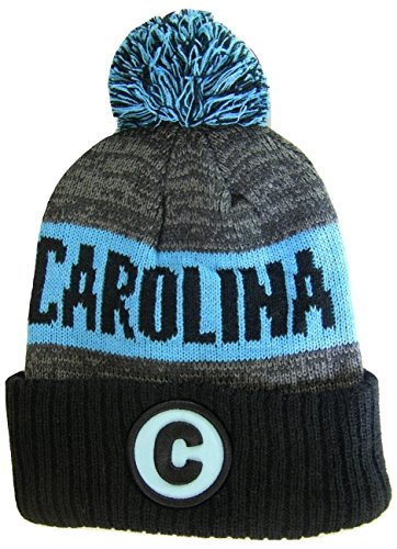 Carolina Panthers Skull Cap (BVE Sports Novelties Carolina C Patch Ribbed Cuff Knit Winter Hat Pom Beanie (Black/Blue)
