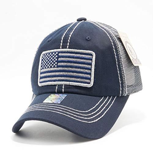 (Honor Country USA American Flag Baseball Cap Black - Navy)