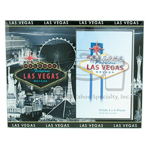 Las Vegas VINTAGE LOOK STRIP GLASS PICTURE FRAME(GREY SKYLINE)