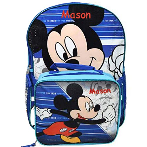 Personalized Licensed Backpack with Detachable Lunch Box - 16 Inch (Mickey Mouse Backpack and Lunchbox Combo)