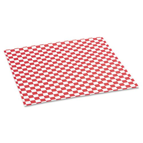 Bagcraft Papercon Grease-Resistant Paper Wrap/Liners, 12 x 12, Red Check, 1000 Sheets/Box - five boxes of 1,000 sheets each.