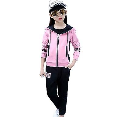 juste prix outlet à vendre pas de taxe de vente LPATTERN Survêtement Ensemble de Sport Enfant Fille 3 Piéces Tenue Vêtement  de Jogging Sweatshirts