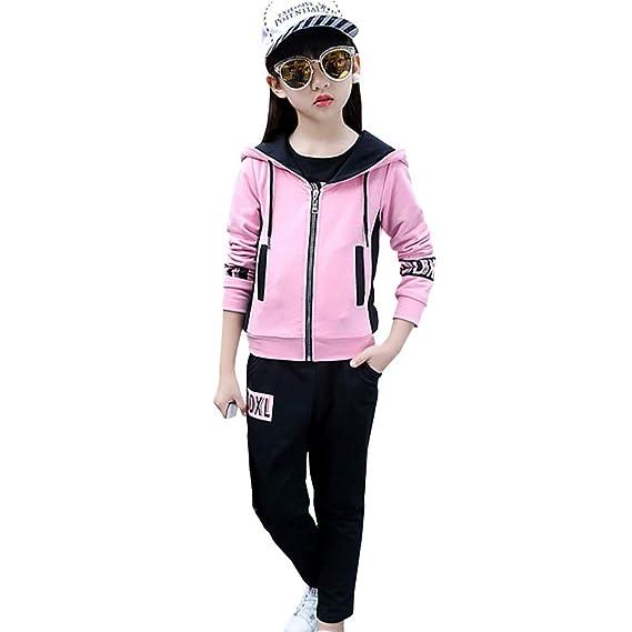 06c62b7a98b5e LSERVER Survêtement Ensemble de Sport Enfant Fille 3 Piéces Tenue Vêtement  de Jogging Sweatshirts
