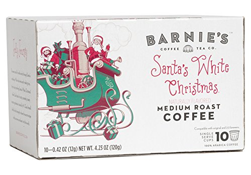 Barnie's Santa's White Christmas Single Serve Coffee | Coffee Pods Compatible With Keurig Brewers | Coconut, Caramel and Vanilla Coffee | Naturally Flavored | Medium Roast | Gluten Free | 10 Count