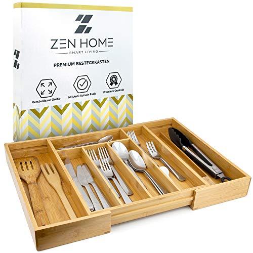 Zen Home ® Besteckkasten – größenverstellbarer Schubladeneinsatz – Küchenhelfer aus Bambus Material – [4X] Noppen am Schubladen Ordnungssystem, um Rutschen zu vermeiden