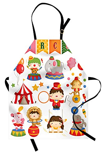 Lunarable Circus Apron, Carnival Circus Happy Children Girls Boys Hat Cotton Candy Stars and Swing Lion, Unisex Kitchen Bib Apron with Adjustable Neck for Cooking Baking Gardening, Red Blue]()