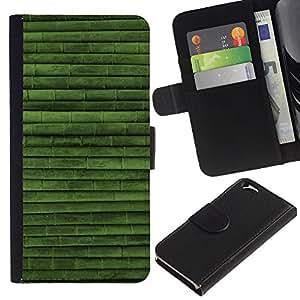 EJOY---La carpeta del tirón la caja de cuero de alta calidad de la PU Caso protector / Apple Iphone 6 / --Modelo verde Naturaleza Bambú