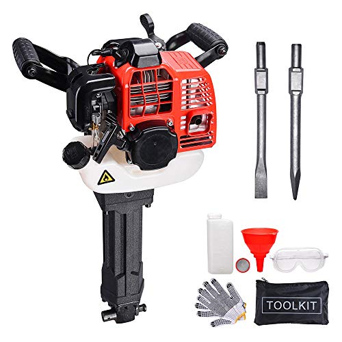 52 CC 2 Stroke Gas Demolition Jack Hammer Concrete Breaker Drill With Chisels EPA Certified Accurate Thumb Throttle Control Backyard Garden Agriculture US Delivery