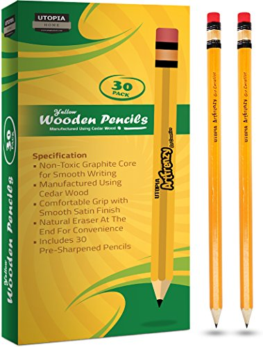 Pack of 30 Art Frenzy Wood-Cased 2HB Pencils - Yellow Wooden Lead Pencils with Latex-Free Eraser - Pre-Sharpened - by Utopia Home