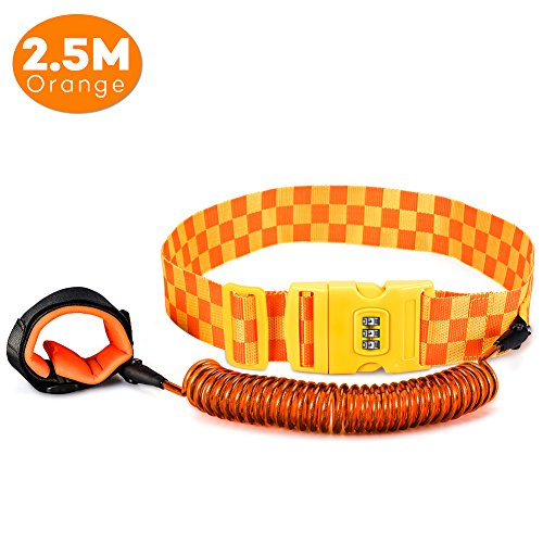Baby 98 Inches Anti-lost Belt with Security 3 Dail Password Lock, Adjustable Child Safety Anti Lost Waist/Waistband Link Bungee Leash for Toddling Traveling Walking (Orange) from Yosoo Health Gear