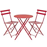 Best Choice Products 3-Piece Portable Folding Metal Bistro Set w/Table and 2 Chairs - Red