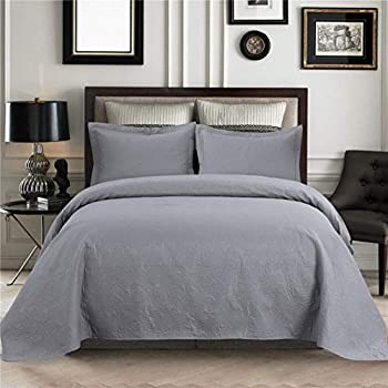 JARSON Bedspreads Coverlet Set,3 Piece Floral Coverlet Set King Size with Pillow Shams,Lightweight Reversible Quilts Set for Summer - Gray,King Size