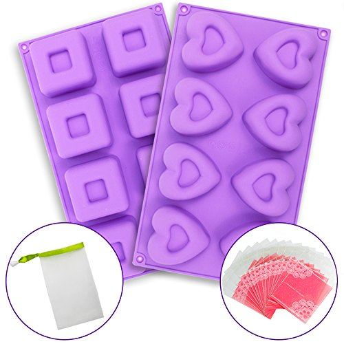 JUSLIN 8-Cavity Square Heart-shaped Silicone Soap Mold Cake Mold for DIY Handmade Soaps, Cakes, etc., with Packaging Bags and Bubble Net