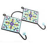 IndianShelf Handmade 1 Piece Ceramic Turquoise Navy Blue Tiny Flower Tiles Artistic Rust Free Wall Hooks/Cloth Coats Hangers/Keys Holders