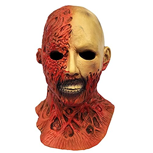 Molezu Halloween Novelty Horror Mask, Costume Party Cosplay Latex Burn Half Face Mask -