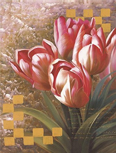 'Red Tulips' Oil Painting, 30x40 Inch / 76x100 Cm ,printed (Little Sports Birth Record)