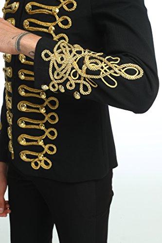 Pizoff Men's Luxury Gold Slim Fit Stylish Suit Blazer Jacket Long Sleeve Formal Dress AD001-03-S by Pizoff (Image #6)
