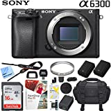Sony a6300 4K Mirrorless Camera (Black) ILCE-6300 Alpha with Case Extra Battery and Memory Card Pro Photograpy Bundle