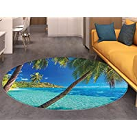 Ocean Round Rugs for Bedroom Image of a Tropical Island with the Palm Trees and Clear Sea Beach Theme Print Circle Rugs for Living Room Turquoise Blue