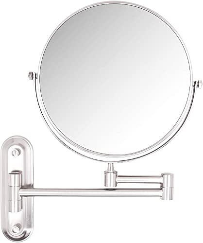 HALO 10X Magnifying Mirror,8 Inch Wall Mounted Vanity Cosmetic Mirror,Two-Sided 360 swivel Bathroom Makeup Mirror with 11.5inch Adjustable Extension,Brushed Nickel