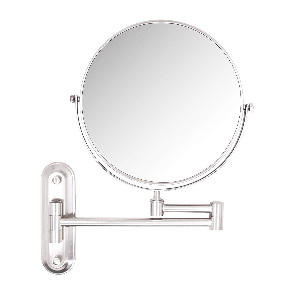 10X Magnifying Mirror,8 Inch Wall mounted vanity cosmetic mirror,two-sided 360 swivel bathroom makeup mirror with 11.5inch adjustable extension,Brushed Nickel