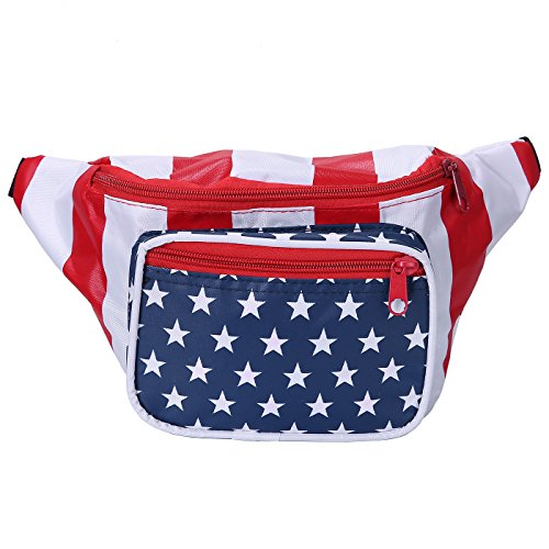 Dog Parade Halloween Nyc (HDE Fanny Pack [80's Style] Waist Pack Outdoor Travel Crossbody Hip Bag (American)