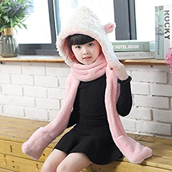 1a1d57feba4 Kids Hat Glove Scarf 3 In 1 Set Girls Winter Cartoon Kits Warm Hoodie Sheep  Hats Caps with Earflaps Long Cotton Novelty Scarves Neck Wraps Children  Toddlers ...