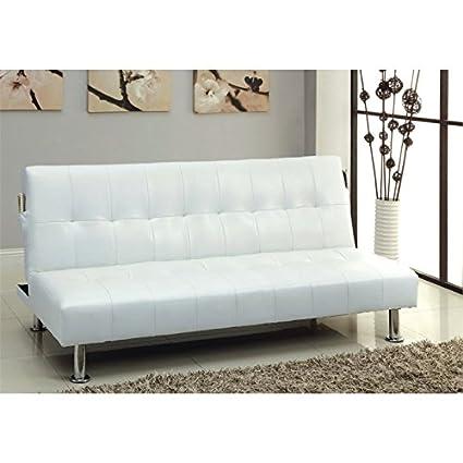 Amazon Com Furniture Of America Hollie Faux Leather Sleeper Sofa