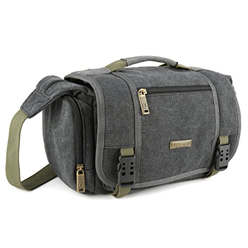 Evecase Large Vintage Canvas Messenger SLR Camera case bag with Shoulder Strap for Canon Nikon Sony Panasonic FujiFilm Olympus Pentax and more DSLR Camera- Gray (Compact 35mm Slr Camera Bag)