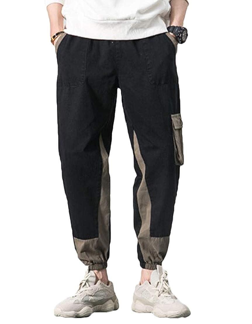 UUYUK Men Casual Harem Elastic Waist Ripstop Cargo Pants