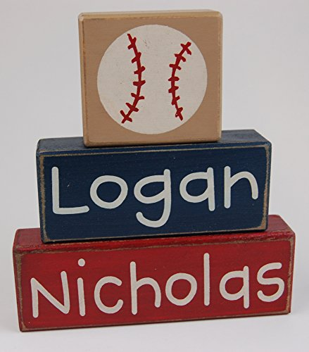 Baseball Theme First Middle Name - Primitive Country Wood Stacking Sign Blocks-Baseball Collection-Boys Sports-Nursery Room-Baseball Baby Shower-Baseball Birthday Sports Home Decor