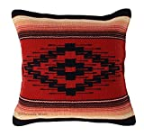 Threads West Throw Pillow Covers 18 X 18 inches, Hand Woven Southwest, Mexican, and Native American Styles. Hand Crafted Western Decorative Pillow Cases (Terracota)